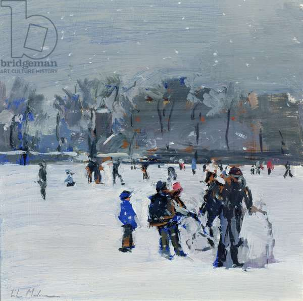 Holland Park in snow, 2009 (oil on board)