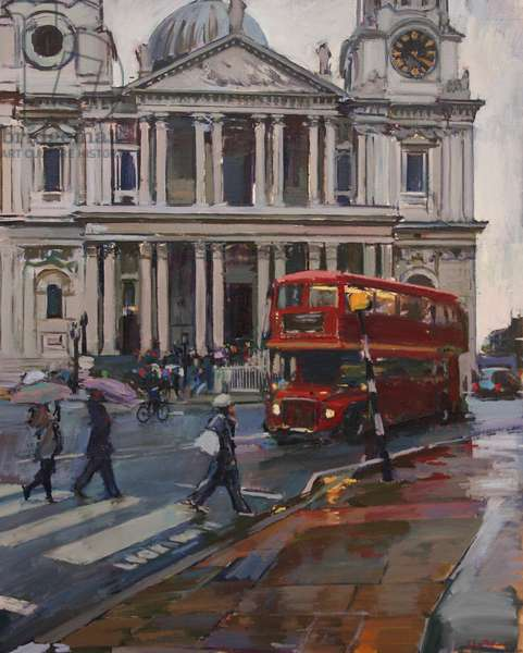 Rainy Day at St Paul's Cathedral, 2009, (oil on canvas)