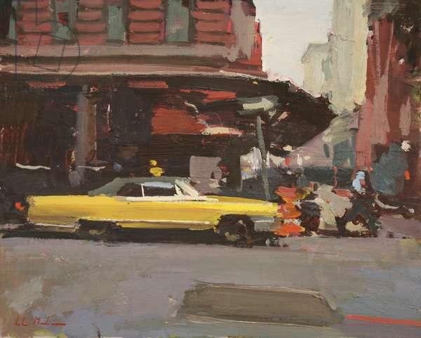 Yellow Cadillac, 2012, (oil on board)