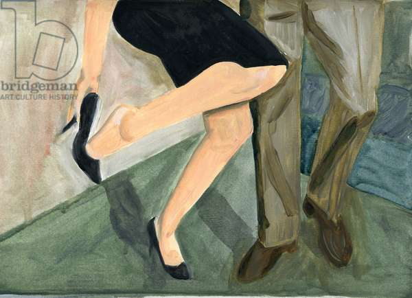 27.09.09 - They danced so hard she had to take her shoes off, 2009 (oil on paper)