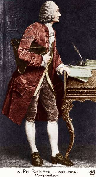 Jean Philippe Rameau standing. Colour version. French composer and theorist 1683-1764.