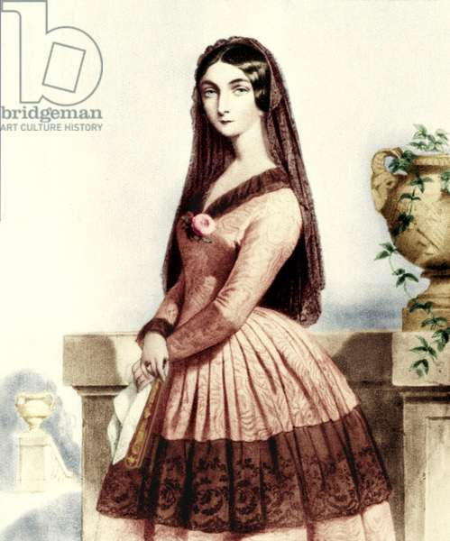 Lola Montes (or Montez). Lithograph by Alophe after a portrait by Dartiguenave. Irish adventurer and dancer (1818-1861) who seduced king Louis II of Bavaria and caused his abdication in 1848. Her affair with Liszt also caused the end of his relationship with Marie d' Agoult in 1844.Colourised.