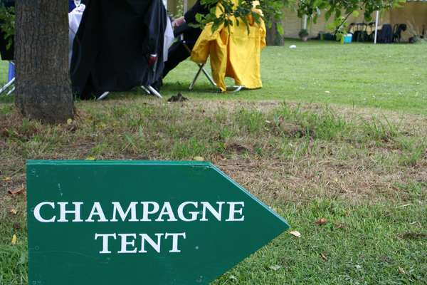 Champagne tent sign at