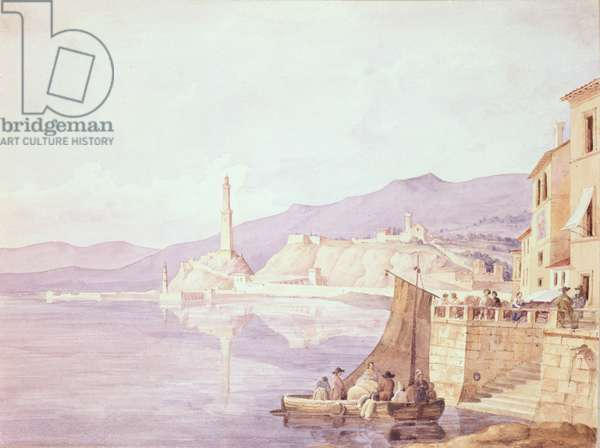 The Harbour at Genoa, 1835 (w/c on paper)