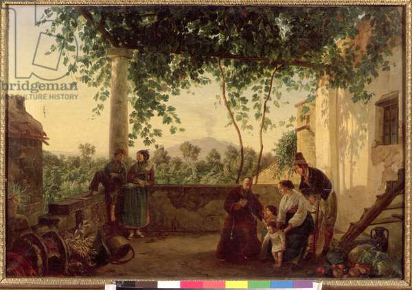 Terrace of a House near Naples with a View of Mount Vesuvius, 1833 (oil on canvas)