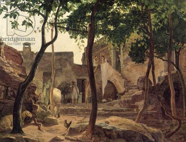 Farmyard near Sorrento, 1827 (oil on canvas)