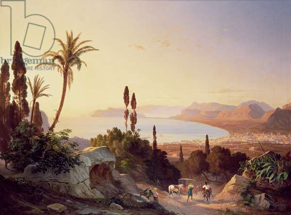 Gulf of Palermo, looking towards Cape Zafferano, c.1845 (oil on canvas)