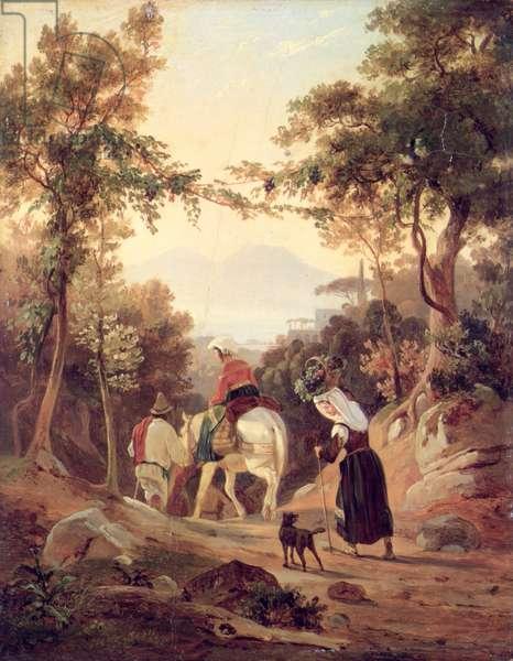 Italian Landscape with Peasants, c.1845 (oil on wood)