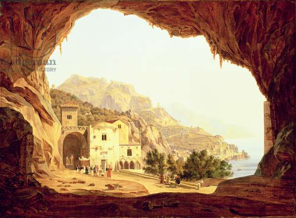 View from a Grotto over the Amalfi Coast, c.1842 (oil on canvas)