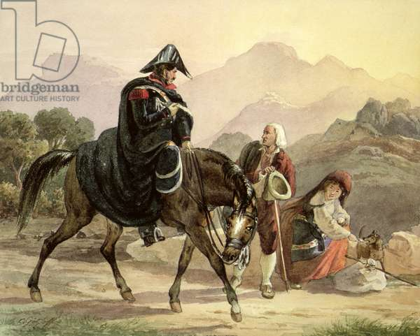 Mounted Italian Policeman with Rural Folk, c.1830 (w/c on paper)