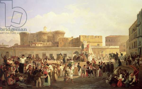 Neapolitan Folk Life at the Largo di Castello, c.1850 (oil on canvas)