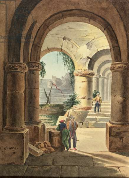 View of the Sea through a Cloister, 1829 (w/c on cardboard)