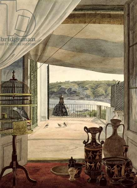 View from a Room with a Balcony over the Gulf of Naples, 1826 (w/c on paper)
