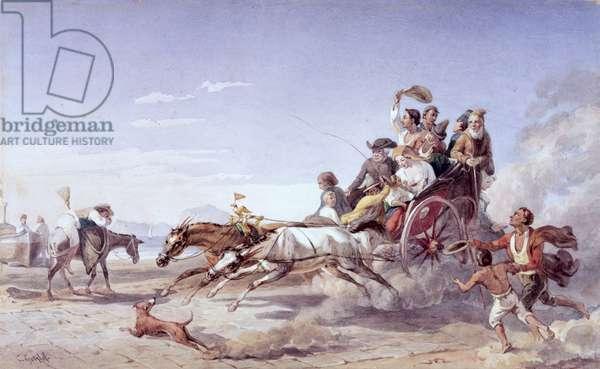 Frantic Neapolitan Barouche, 1828 (w/c over pencil on vellum)