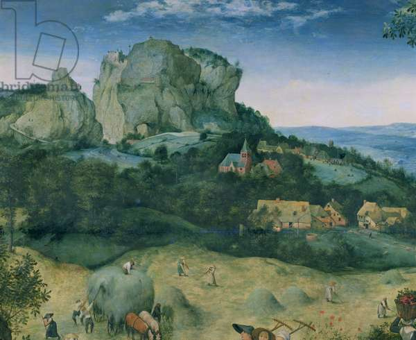 Haymaking, detail of the mountain in the background, 1565 (oil on panel) (detail of 81960)