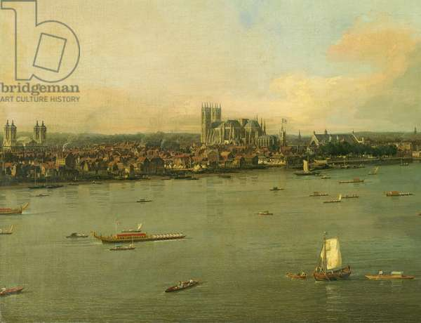 View of the Thames and Westminster Bridge, detail of Westminster Abbey, 1746/7 (oil on canvas) (detail of 464794)