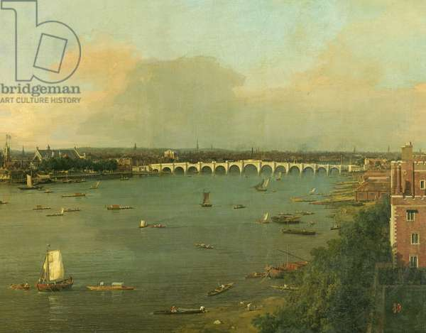 View of the Thames and Westminster Bridge, detail of the bridge, c.1746/7(oil on canvas) (detail of 464794)
