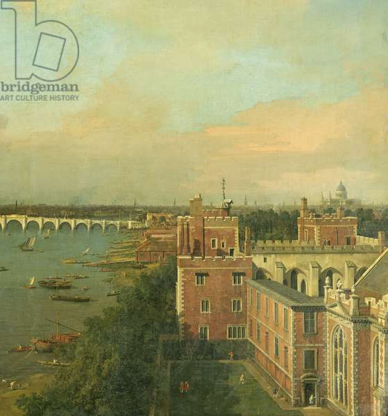 View of the Thames and Westminster Bridge, detail of Lambeth Palace, c.1746/7 (oil on canvas) (detail of 464794)