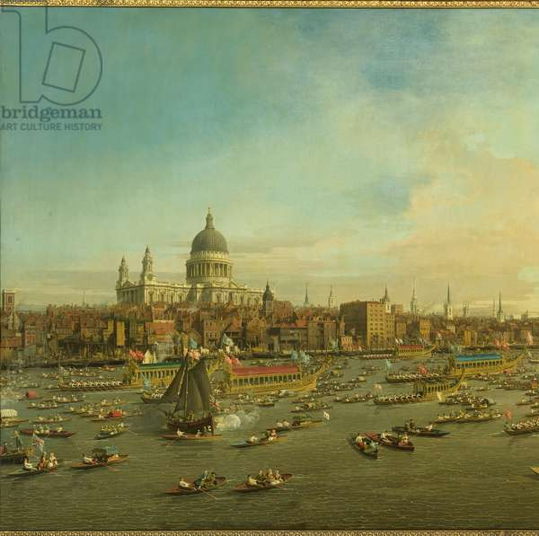 The River Thames with St. Paul's Cathedral on Lord Mayor's Day, c.1747-8 (oil on canvas) (detail of 464792)