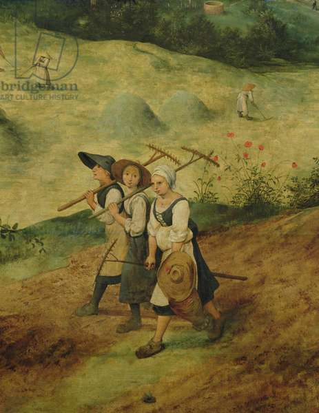 Haymaking, detail of three female harvesters, 1565 (oil on panel) (detail of 81960)