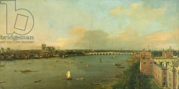 View of the Thames and Westminster Bridge, c.1746/7 (oil on canvas)
