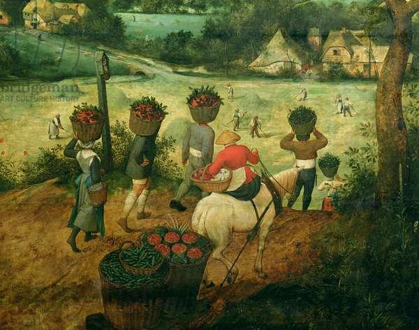 Haymaking, detail of harvesters bearing baskets of fruit, 1565 (oil on panel) (detail of 81960)