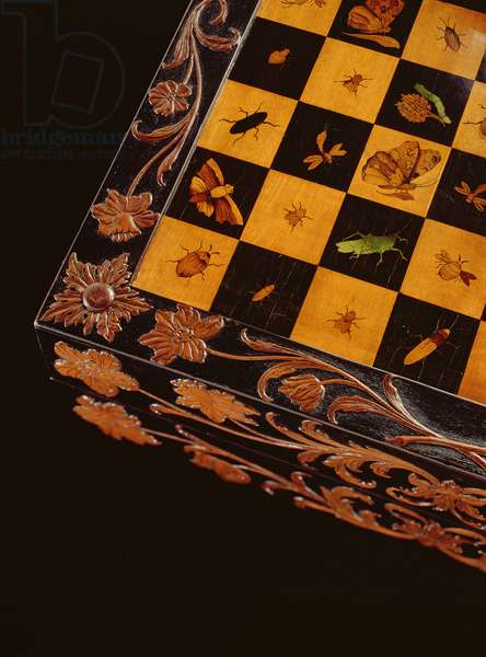 Games board depicting butterflies and insects in the chequered squares, from Eger (Cheb) (ebony)