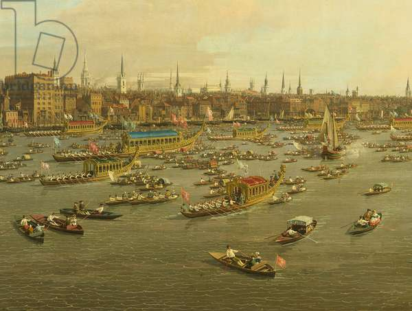 The River Thames with St. Paul's Cathedral on Lord Mayor's Day, detail of the boats, c.1747-8 (oil on canvas) (detail of 464792)
