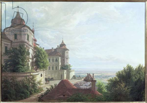 View with the Courtyard at Jezeri Castle, 1843 (oil on canvas)