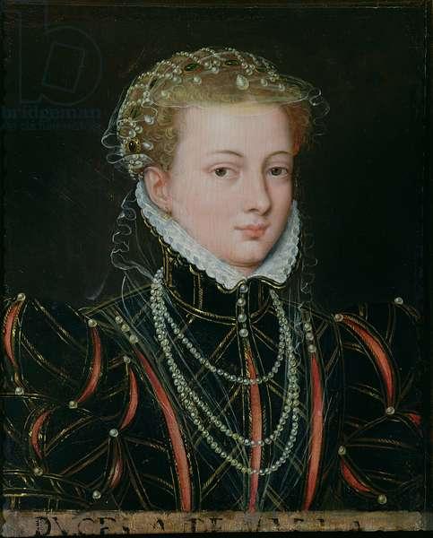 Portrait of Margaret, Duchess of Parma (1522-86), Regent of the Netherlands 1559-67 (oil on panel)