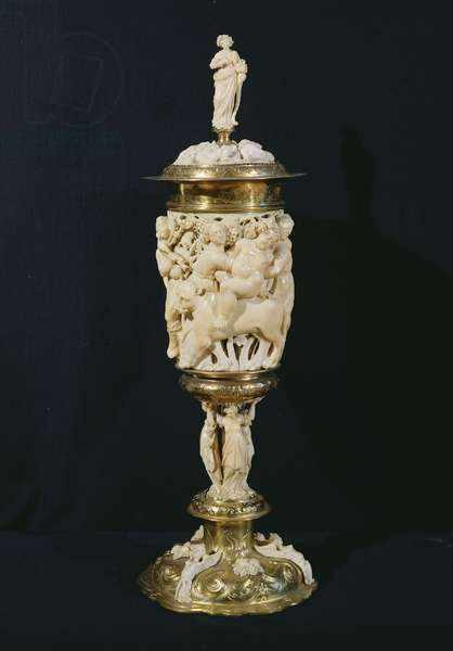 Chalice decorated with the triumph of Bacchus, Augsburg, 1640 (ivory and gold) (front) (see also 82008)