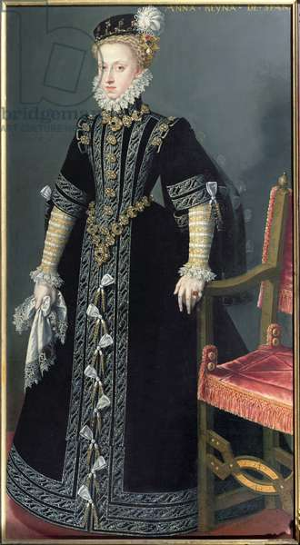 Portrait of Anne of Austria, Queen of Spain (1549-80) daughter of Emperor Maximilian II and 4th wife of Philip II (1527-98) (oil on canvas)