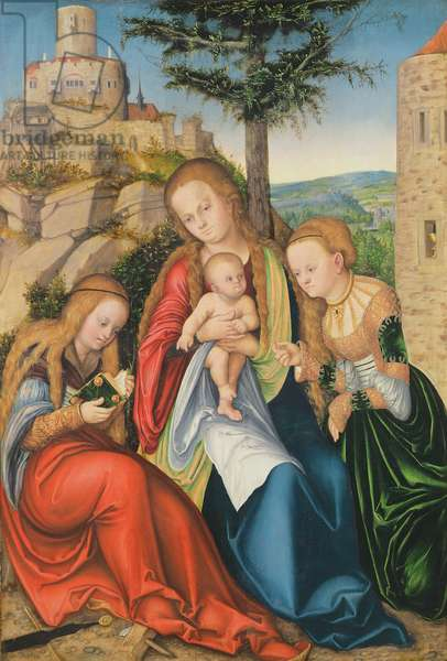 Madonna and Child with St. Catherine of Alexandria and St. Barbara (oil on panel)