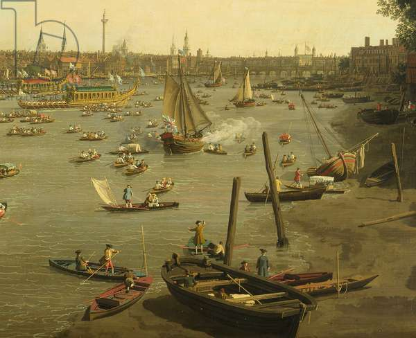 The River Thames with St. Paul's Cathedral on Lord Mayor's Day, detail of boats by the shore, c.1747-8 (oil on canvas) (detail of 464792)