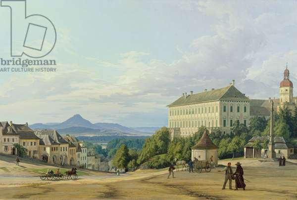 Roudnice Castle from the Town, 1840 (oil on canvas)