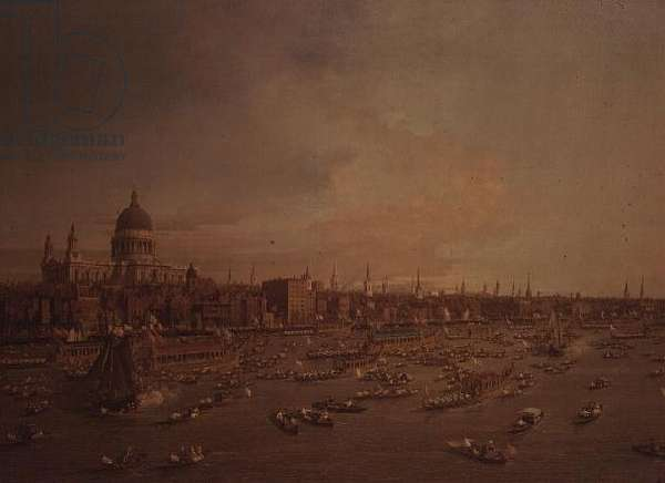 The Thames on Lord Mayor's Day, c.1747 (oil on canvas) (detail of 81974)
