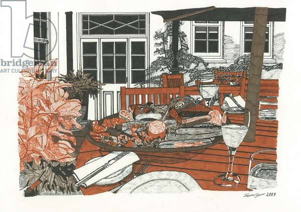 Lunch at The Angel, 2007 (pen and ink on paper)