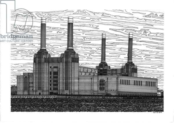 Battersea Power Station, 2016 (pen and ink)