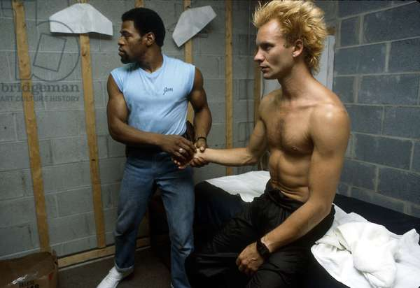 Sting sitting backstage with