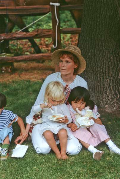 Mia Farrow with three of her adopted children, 1978 (photo)