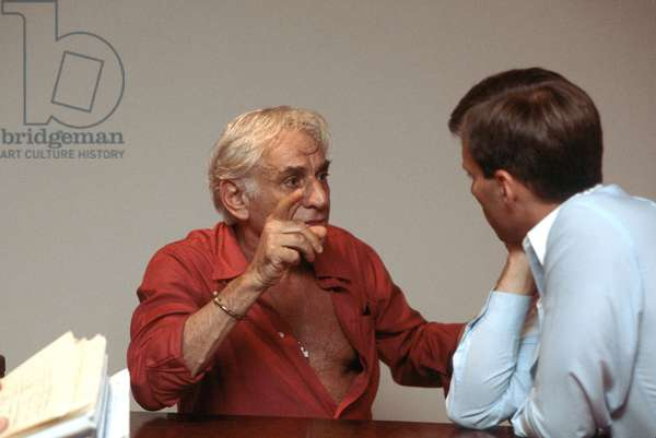 Leonard Bernstein during rehearsals