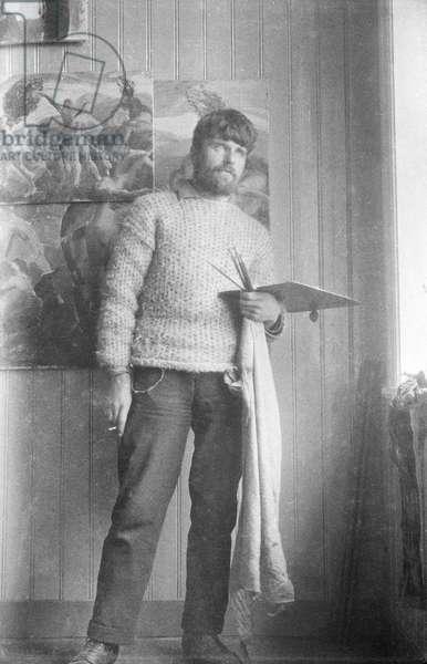 Leon Underwood in Iceland, 1923 (b/w photo)