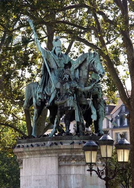 """Statue of Charlemagne (Charles I known as Charles the Great, 742-814), king of France surnamed """""""" The Great"""""""" and Emperor of Occident. Parvis Notre Dame, Place Jean-Paul II, Paris. Sculpture by Louis Rochet (1813-1878). Photography Florent Lamontagne"""