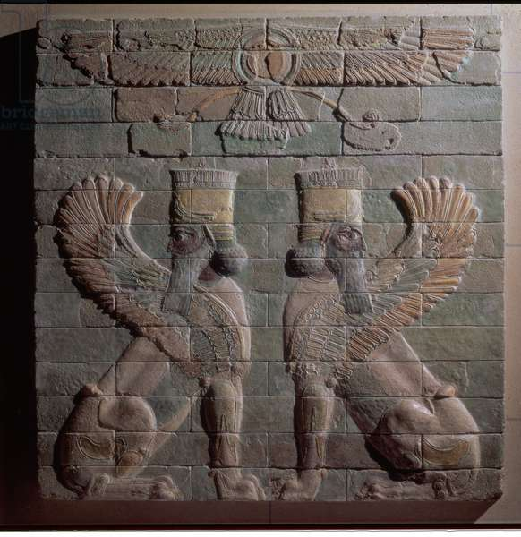 00352 Relief of griffins, Persian, from Susa, Achaemenid Dynasty, c.500 BC (glazed bricks)