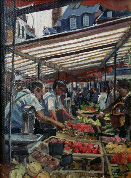 Vegetable Stall, Place St. Catherine, Honfleur, 1997 (oil on canvas)