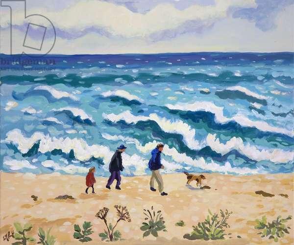Swirling Seas, Slapton (oil on canvas)