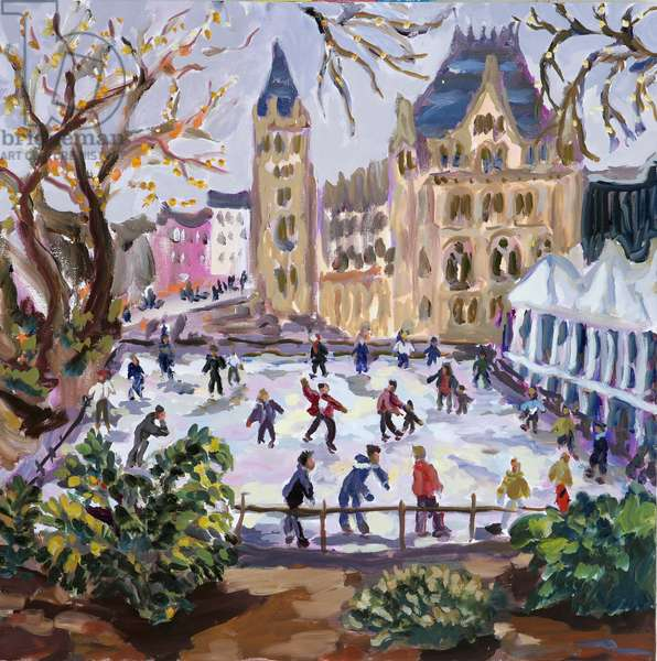 Ice skating at Natural History Museum (oil on canvas)