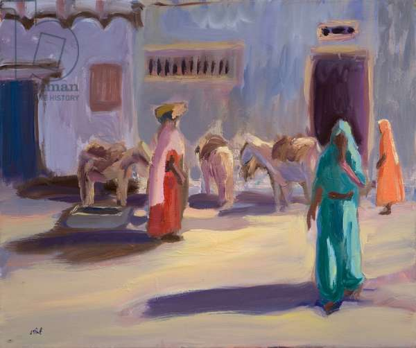 Donkeys and Green Sari Pushkar India (oil on canvas)