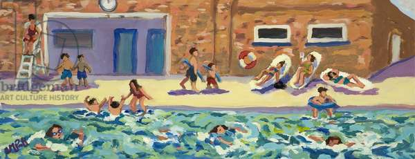 A day at the lido (oil on canvas)