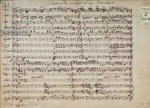 Page of musical score of minuets in
